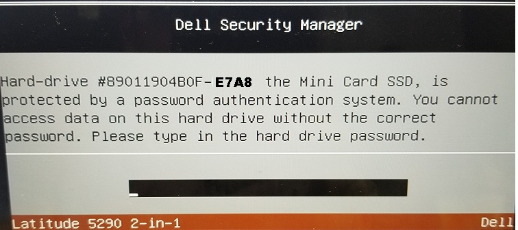 Dell E7A8 HDD password